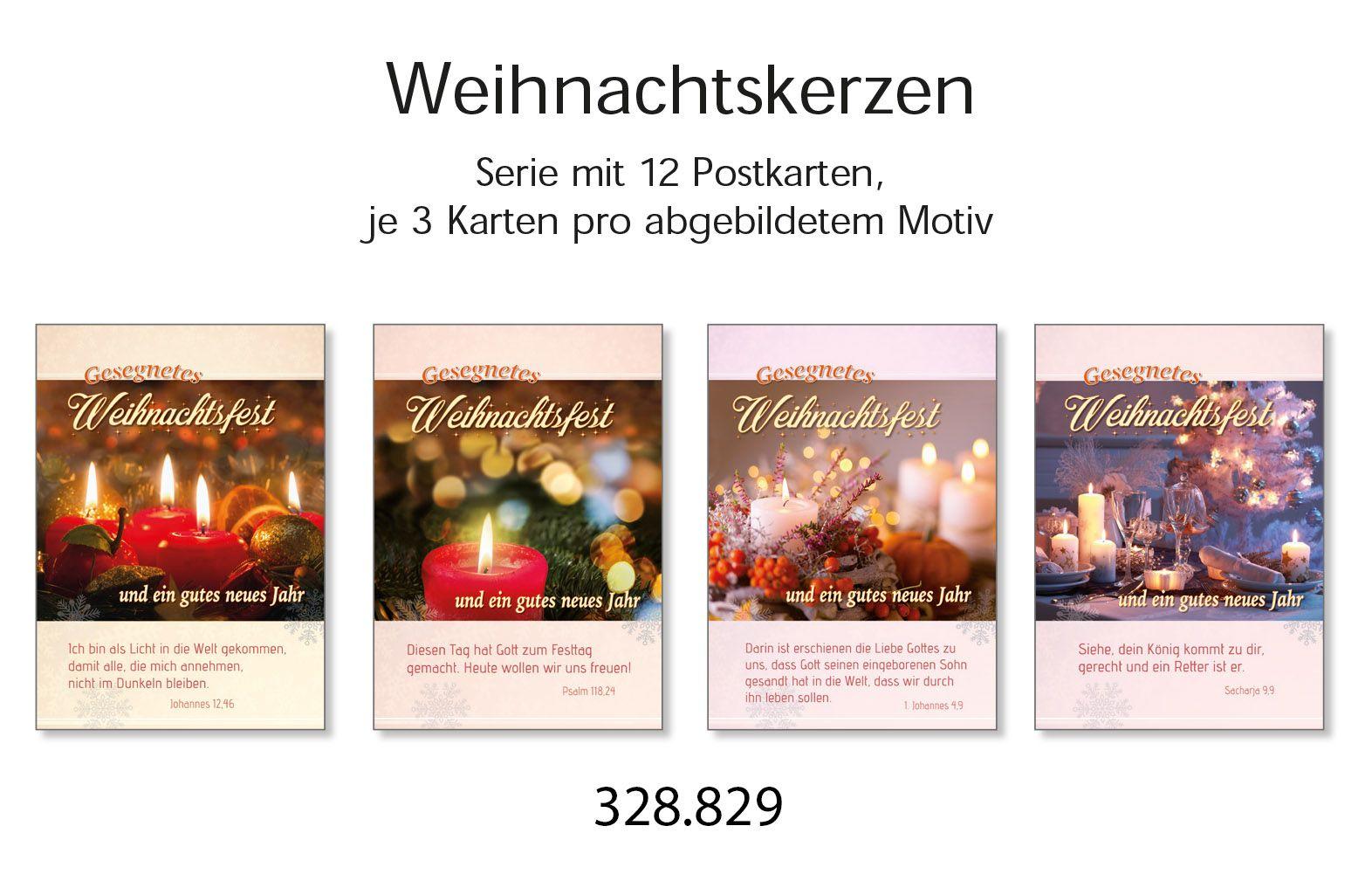 Postkartenserie Weihnachten: Kerzen, 12 Stück
