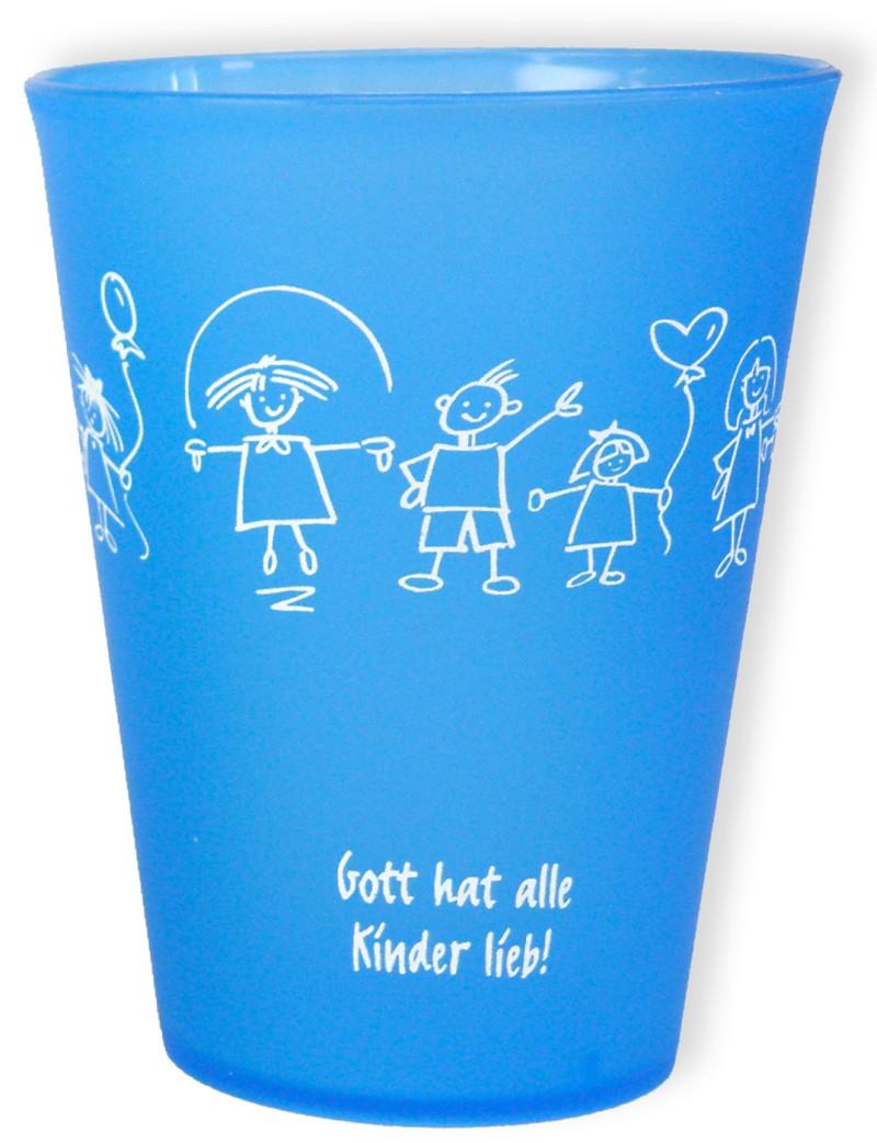"""Trinkbecher """"Gott hat alle Kinder lieb"""" - blau"""