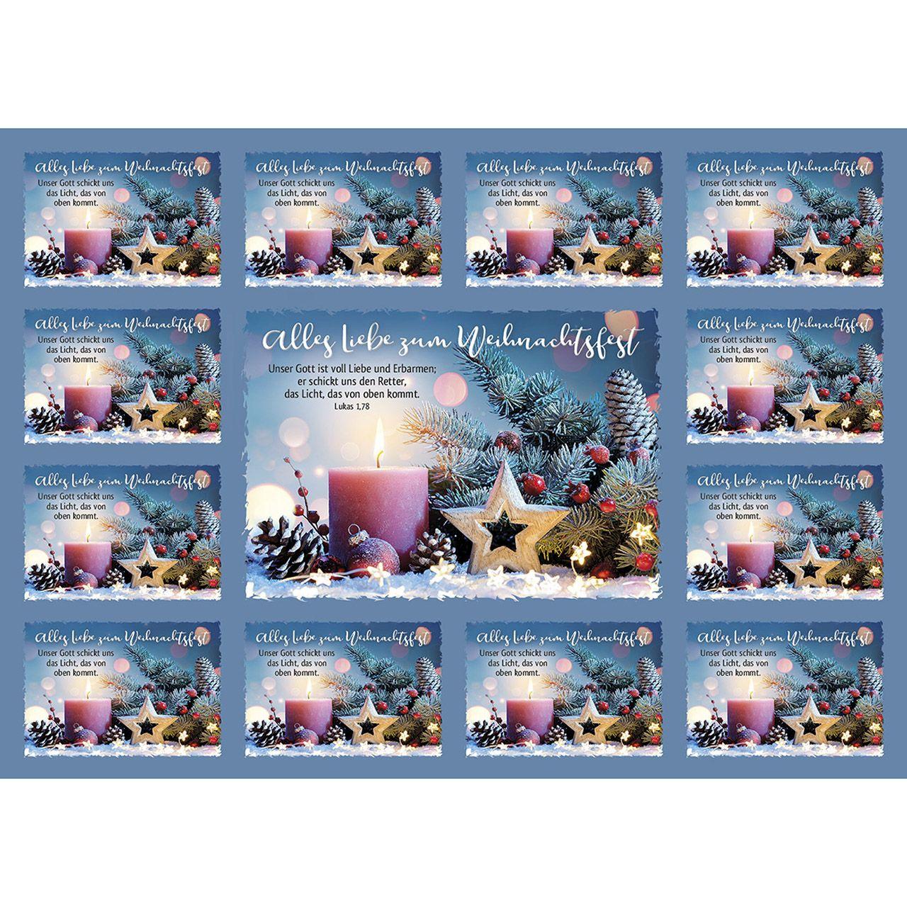Aufkleber-Gruß-Karten: Alle Liebe zum Weihnachtsfest, 4 Stück
