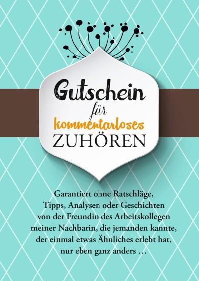 """Postkarte """"Gutschein für kommentarloses Zuhören"""" - 10 Stk."""