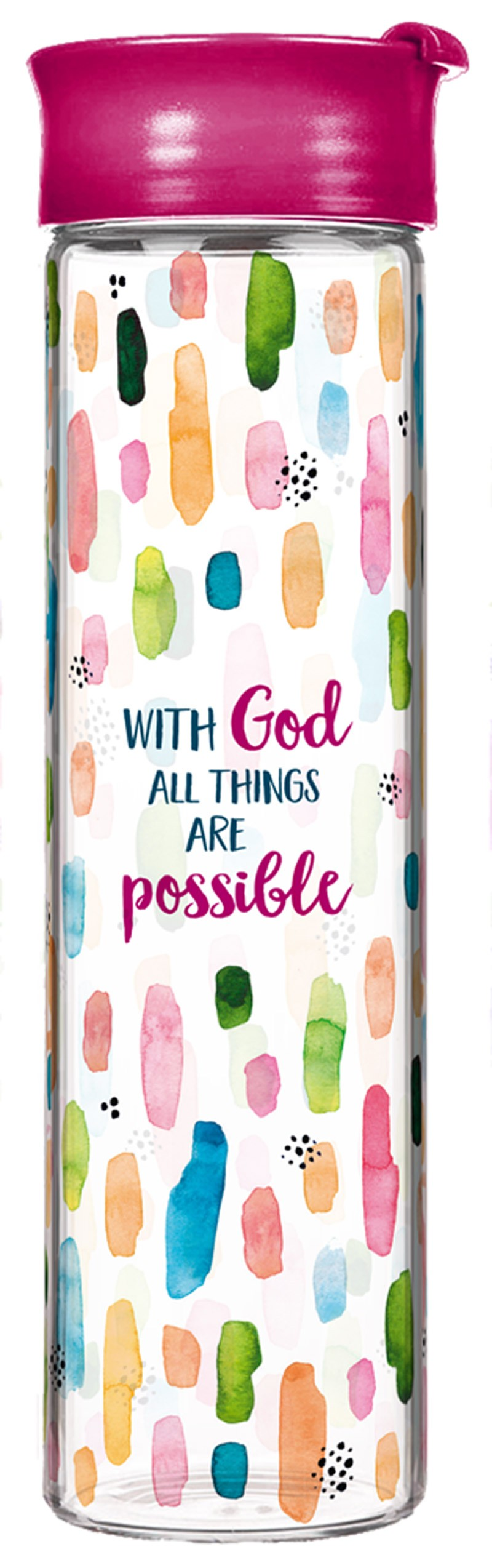 "Glasflasche ""With God all things are possible"""