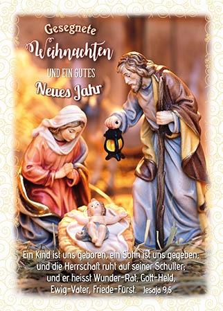 Postkarten Weihnachten/Neujahr Krippe, 6 Stück