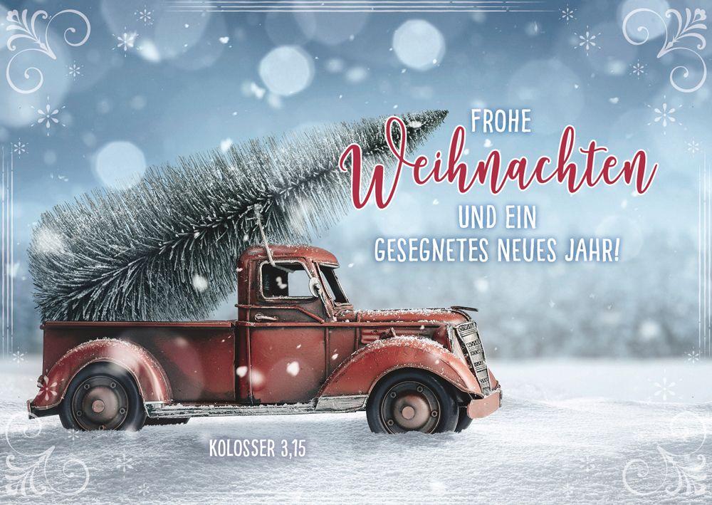 """Postkartenserie """"Frohe Weihnachten- Pickup mit Tannenbaum"""" 12 Stk."""