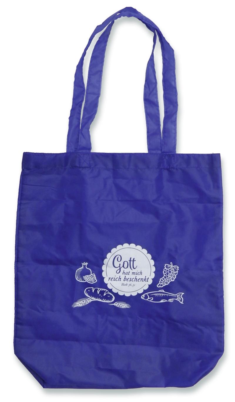 """Einkaufstasche """"Gott hat mich reich beschenkt"""" - blau"""