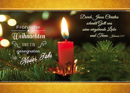 Postkarten Weihnachten/Neujahr Kerzen, 6 Stück
