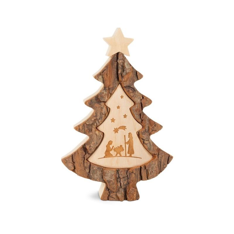 Weihnachtsbaum mit Krippenmotiv - gelasert