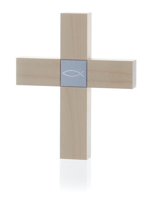 Holzkreuz klein - Ahorn - Motiv Fisch
