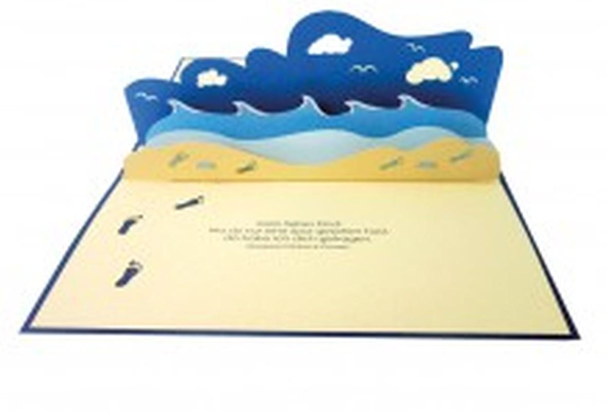 Spuren im Sand - 3D-Pop-up-Faltkarte