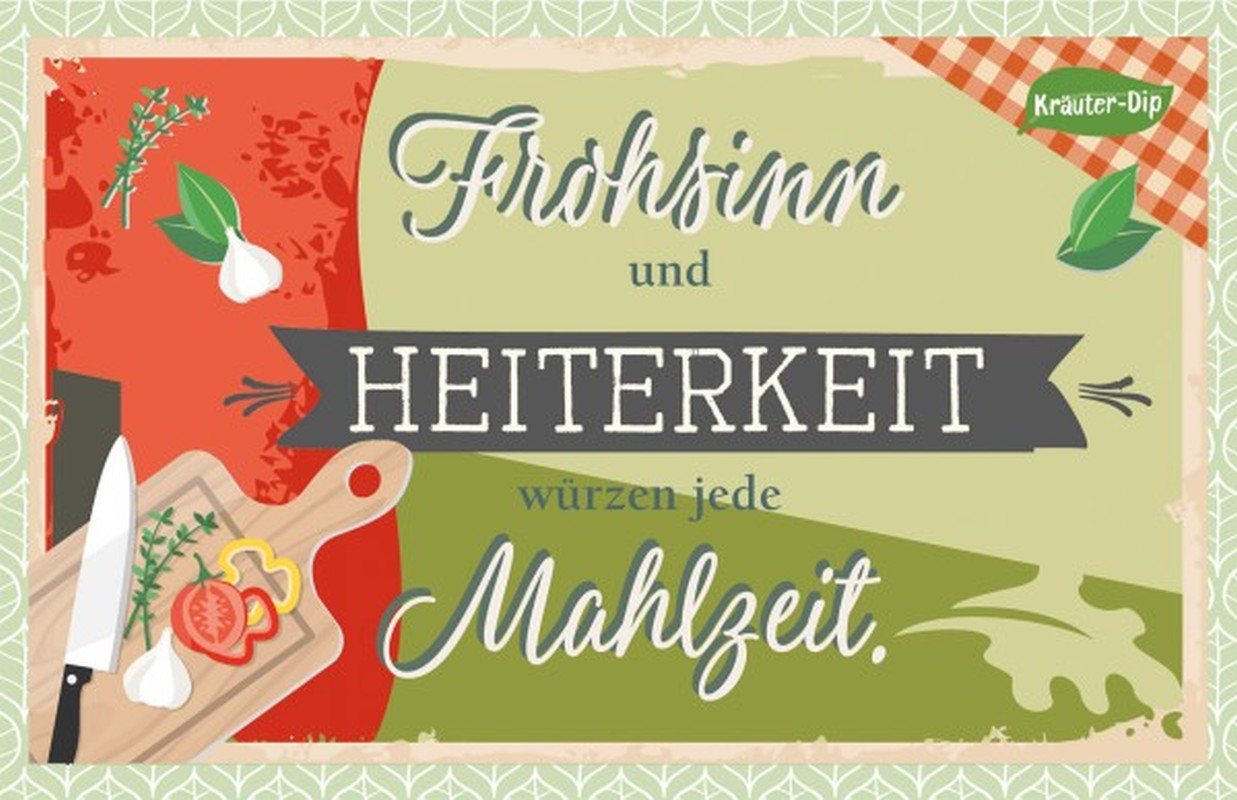 Kräuter-Dip-Postkarte - Frohsinn und Heiterkeit