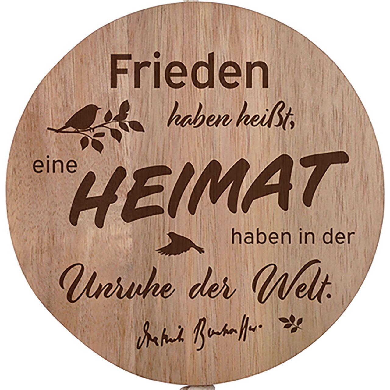 """Wandschmuck-Holz """" Frieden haben heißt, eine Heimat haben..."""""""