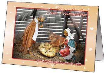 Faltkarten Weihnachtskrippe, 5 Stück